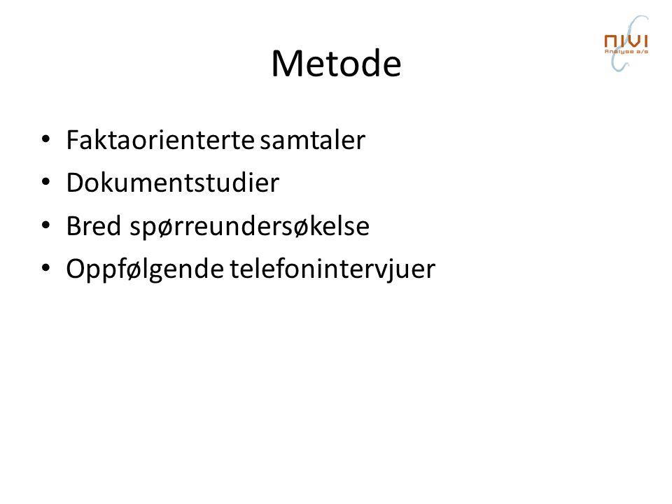 Metode • Faktaorienterte samtaler • Dokumentstudier • Bred spørreundersøkelse • Oppfølgende telefonintervjuer