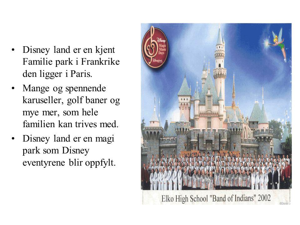 •Disney land er en kjent Familie park i Frankrike den ligger i Paris.