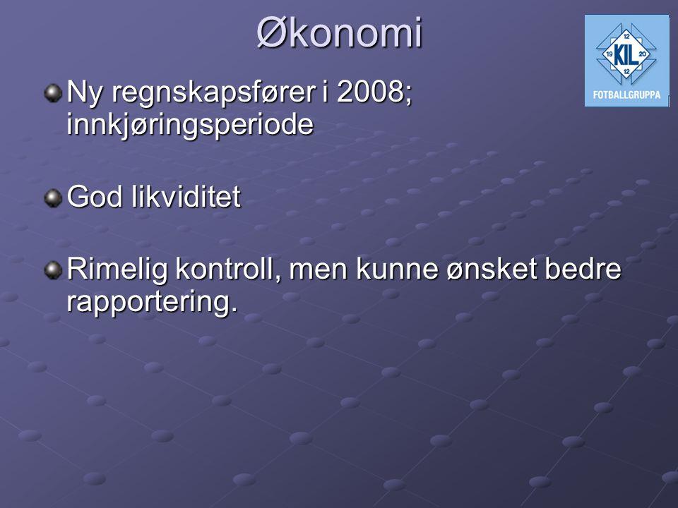 Økonomi Ny regnskapsfører i 2008; innkjøringsperiode God likviditet Rimelig kontroll, men kunne ønsket bedre rapportering.