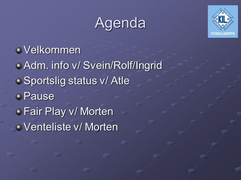Velkommen Adm. info v/ Svein/Rolf/Ingrid Sportslig status v/ Atle Pause Fair Play v/ Morten Venteliste v/ Morten Agenda