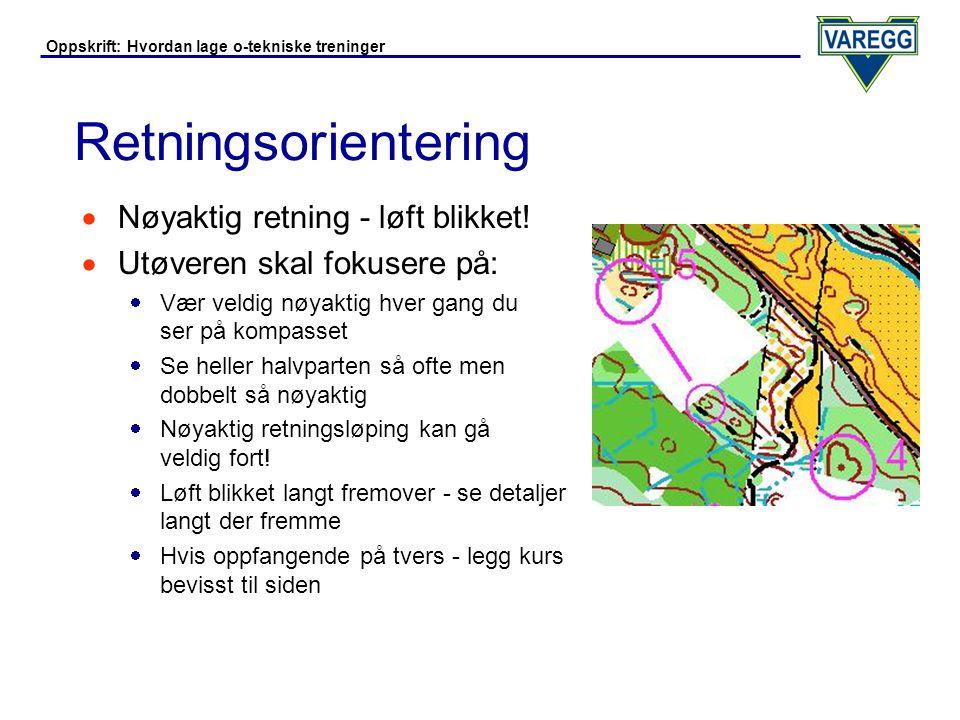 Oppskrift: Hvordan lage o-tekniske treninger Retningsorientering - Eksempler  Kompassløping uten detaljer på strekket