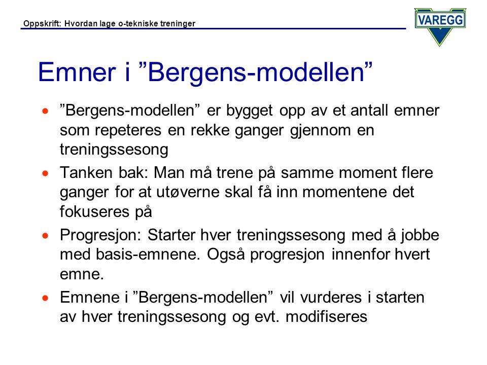 Oppskrift: Hvordan lage o-tekniske treninger Emner i Bergens-modellen (2)  Emner:  Kurveorientering  Forenkling  Fartstilpasning  Retningsorientering  Orientering i fart  Planlegging av strekket
