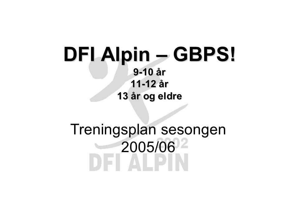 DFI Alpin – GBPS! 9-10 år 11-12 år 13 år og eldre Treningsplan sesongen 2005/06
