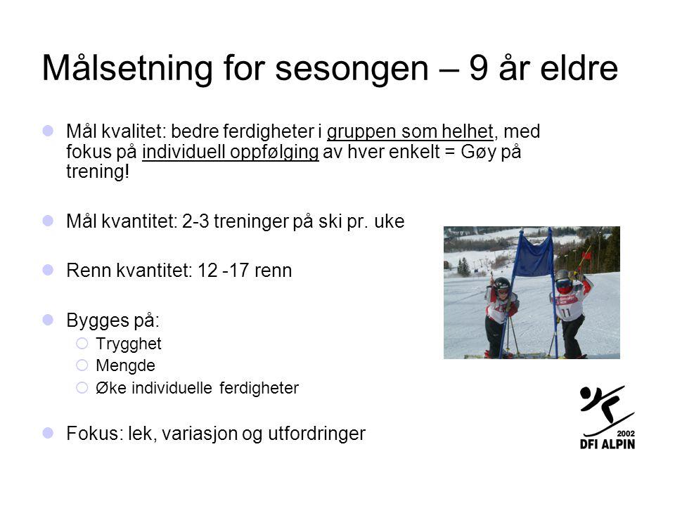 Struktur til planarbeid  Tirsdag, En dag med høyt fokus = utvikle grunnteknikk  Mange trenere  Individuell/små grupper oppfølging  Tekniske øvelser (øvelser grunnteknikk)  Utfordringer fart (rett ned, fart over hopp, bråstopp)  Lek med utfordringer (menneske slalåm, parallell frikjøring, herme)  Frikjøring med utfordringer (snow board park, hopp)  Onsdag (ekstra) - Mengde port kjøring (SL/SSL)  Få trenere  Repetisjon/mengde  Torsdag  Trening med ferdighet i fokus (renn/port kjøring)  For de yngste hovedsak storslalåm denne sesongen, slalåm mot slutten av sesongen for de som vil (krav om utstyr)  Fart skal beherskes – legge inn elementer for dette  Hovedgrupper  Trygghet  Port passering - løypevalg  Vilje / fokus / egenutvikling på tid og opplevelse av å lykkes