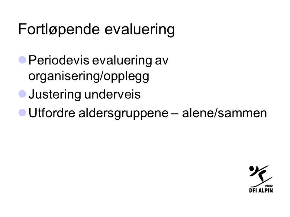 Fortløpende evaluering  Periodevis evaluering av organisering/opplegg  Justering underveis  Utfordre aldersgruppene – alene/sammen