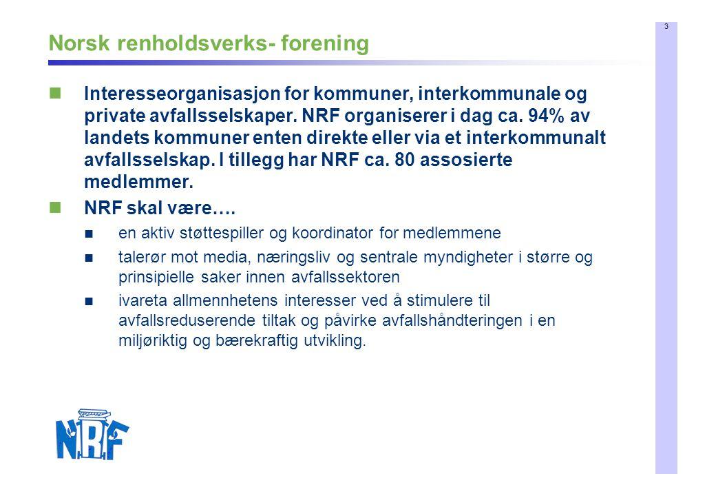 3 Norsk renholdsverks- forening  Interesseorganisasjon for kommuner, interkommunale og private avfallsselskaper.