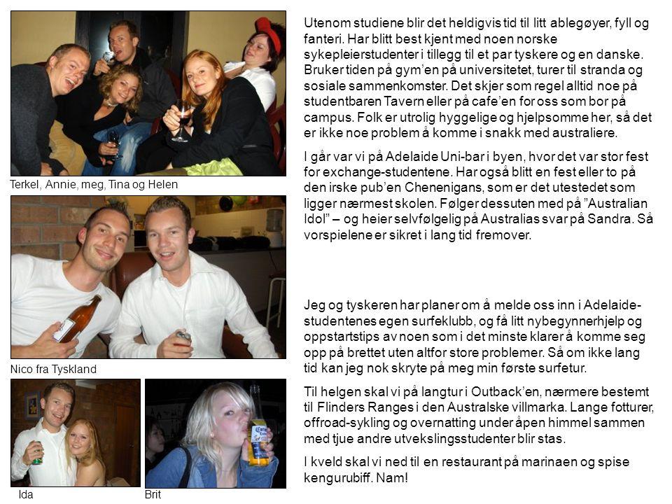 Nico fra Tyskland Terkel, Annie, meg, Tina og Helen Utenom studiene blir det heldigvis tid til litt ablegøyer, fyll og fanteri.