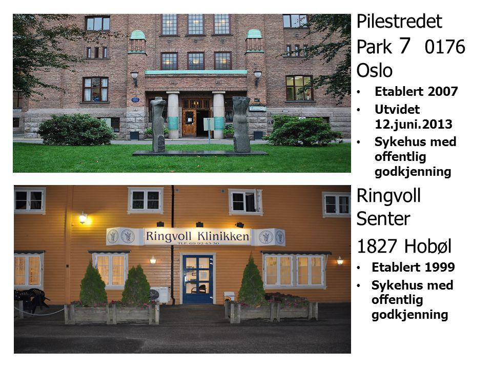 Pilestredet Park 7 0176 Oslo •Etablert 2007 •Utvidet 12.juni.2013 •Sykehus med offentlig godkjenning Ringvoll Senter 1827 Hobøl •Etablert 1999 •Sykehu