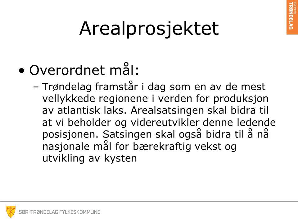 Arealprosjektet •Overordnet mål: –Trøndelag framstår i dag som en av de mest vellykkede regionene i verden for produksjon av atlantisk laks.