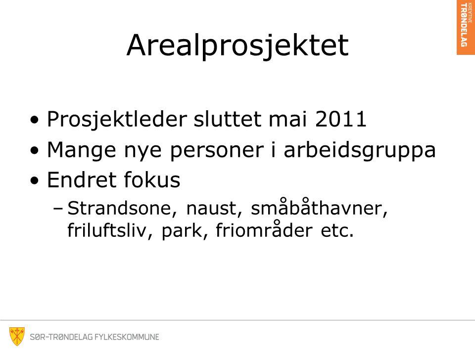 Arealprosjektet •Prosjektleder sluttet mai 2011 •Mange nye personer i arbeidsgruppa •Endret fokus –Strandsone, naust, småbåthavner, friluftsliv, park, friområder etc.