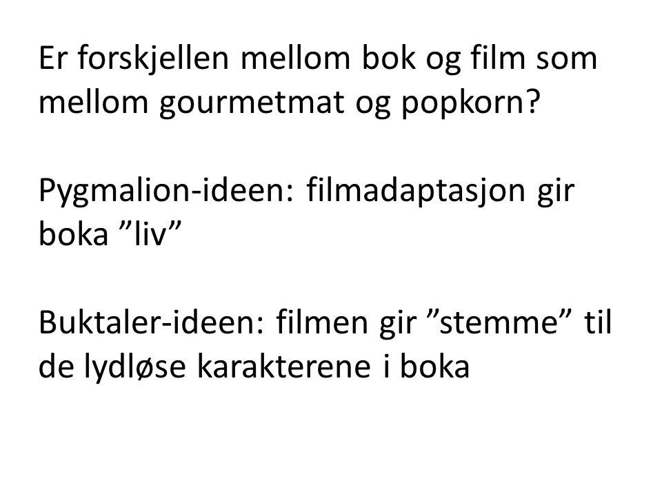 """Er forskjellen mellom bok og film som mellom gourmetmat og popkorn? Pygmalion-ideen: filmadaptasjon gir boka """"liv"""" Buktaler-ideen: filmen gir """"stemme"""""""