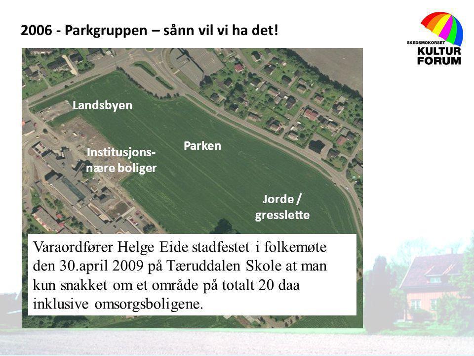 2006 - Parkgruppen – sånn vil vi ha det! Jorde / gresslette Parken Landsbyen Institusjons- nære boliger Varaordfører Helge Eide stadfestet i folkemøte