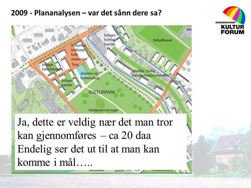 2009 - Plananalysen – var det sånn dere sa? LPO arkitektur & design as Ja, dette er veldig nær det man tror kan gjennomføres – ca 20 daa Endelig ser d