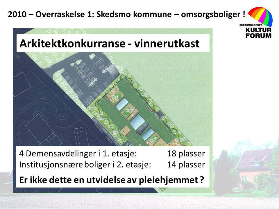 Arkitektkonkurranse - vinnerutkast 4 Demensavdelinger i 1. etasje: 18 plasser Institusjonsnære boliger i 2. etasje: 14 plasser Er ikke dette en utvide