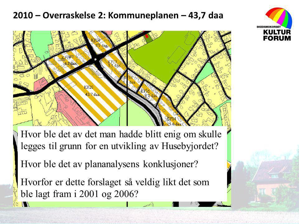 2010 – Overraskelse 2: Kommuneplanen – 43,7 daa Hvor ble det av det man hadde blitt enig om skulle legges til grunn for en utvikling av Husebyjordet?