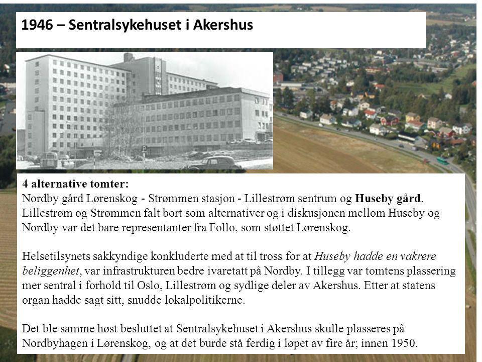 En kuriositet…… 1946: 4 alternative tomter: Nordby gård Lørenskog - Strømmen stasjon - Lillestrøm sentrum og Huseby gård. Lillestrøm og Strømmen falt