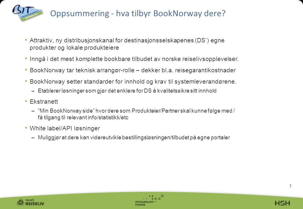 3 Oppsummering - hva tilbyr BookNorway dere? • Attraktiv, ny distribusjonskanal for destinasjonsselskapenes (DS') egne produkter og lokale produkteier