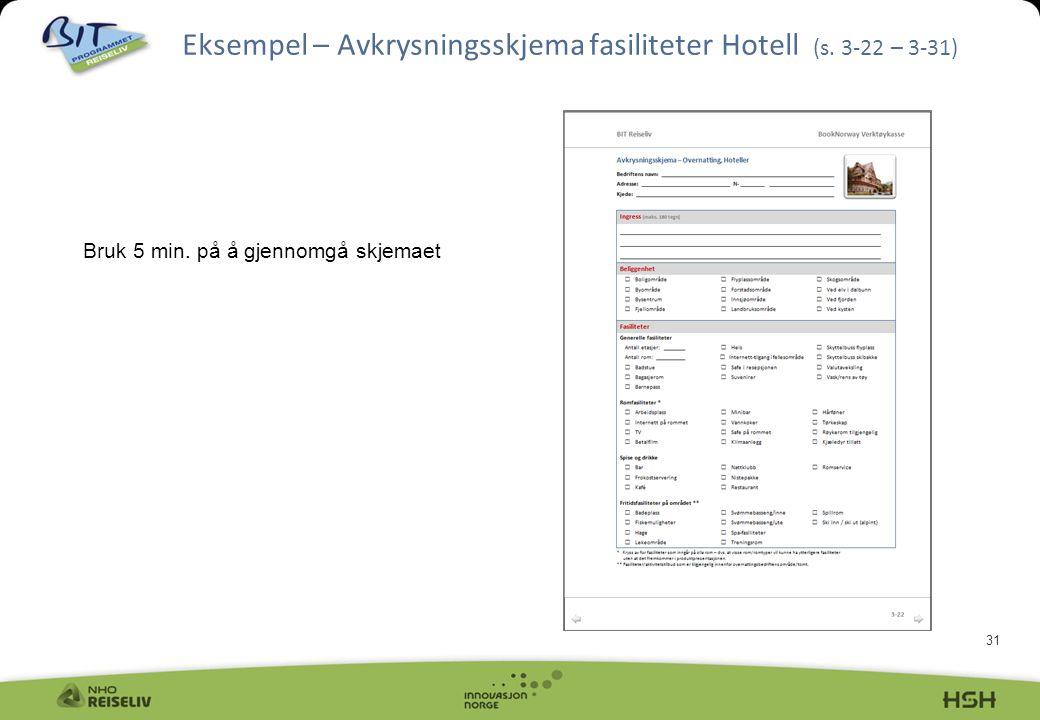 31 Eksempel – Avkrysningsskjema fasiliteter Hotell (s. 3-22 – 3-31) Bruk 5 min. på å gjennomgå skjemaet