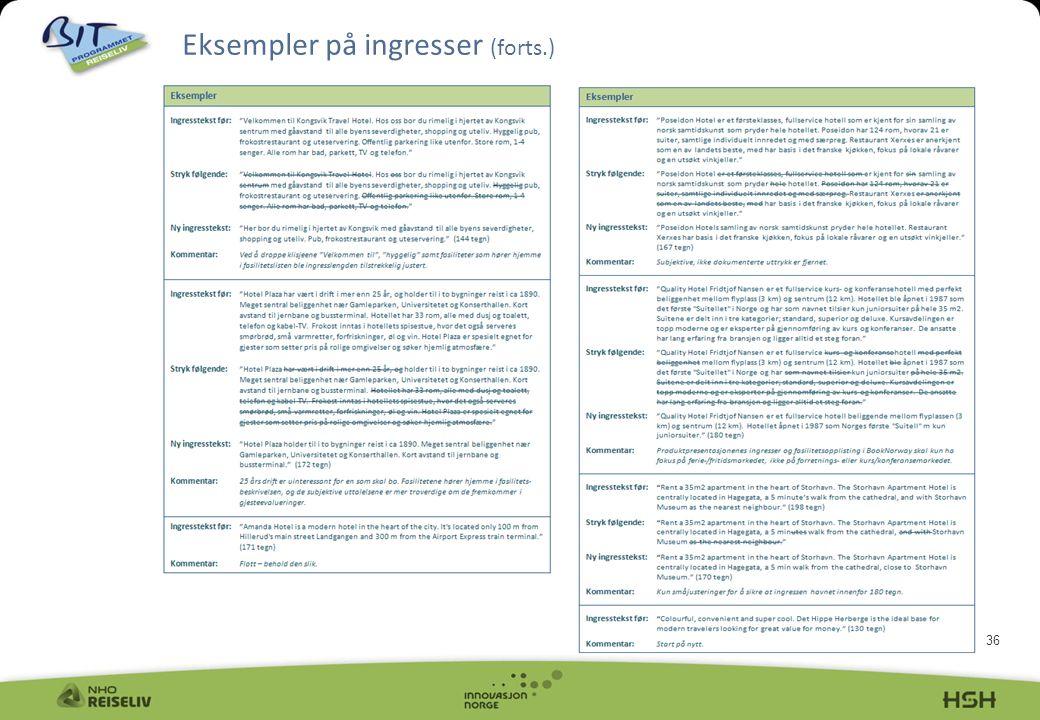 36 Eksempler på ingresser (forts.)