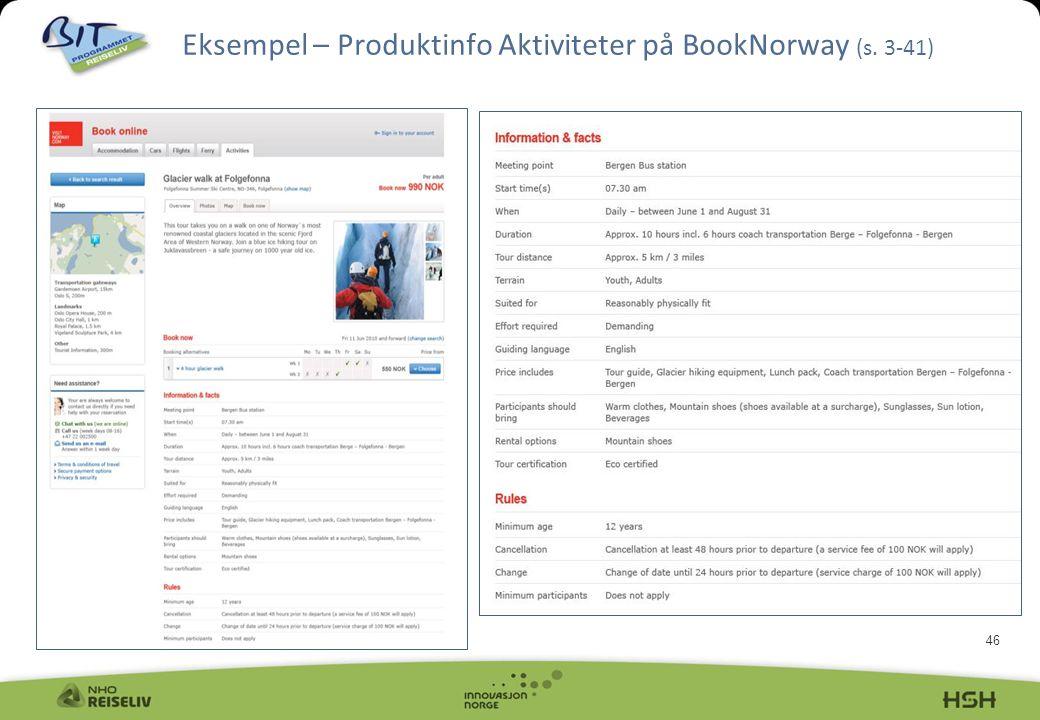 46 Eksempel – Produktinfo Aktiviteter på BookNorway (s. 3-41)