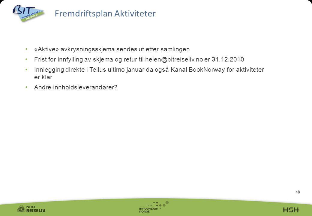 48 •«Aktive» avkrysningsskjema sendes ut etter samlingen •Frist for innfylling av skjema og retur til helen@bitreiseliv.no er 31.12.2010 •Innlegging d