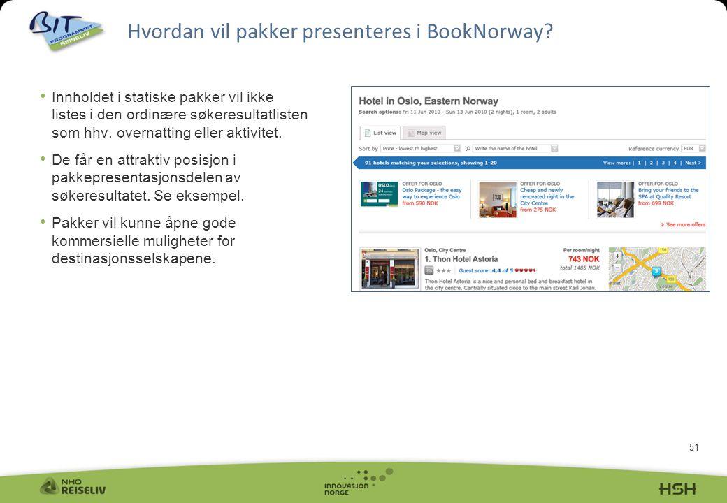 51 Hvordan vil pakker presenteres i BookNorway? • Innholdet i statiske pakker vil ikke listes i den ordinære søkeresultatlisten som hhv. overnatting e