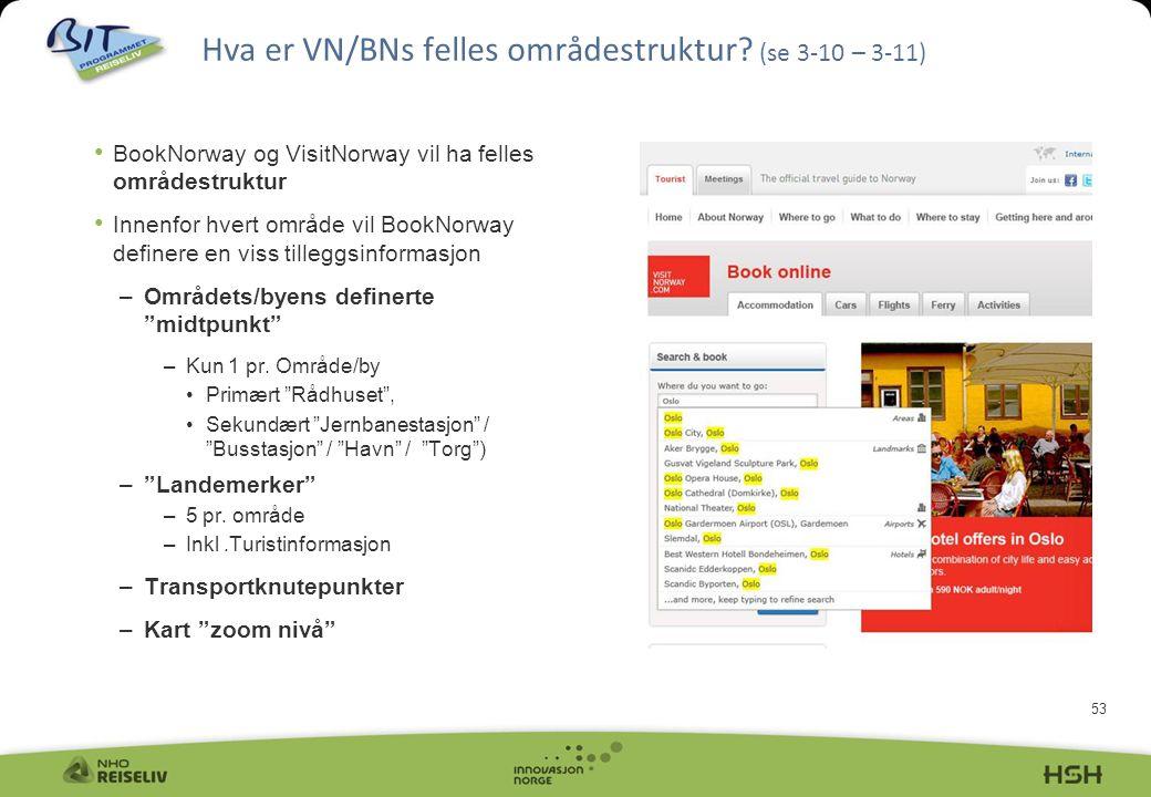 53 Hva er VN/BNs felles områdestruktur? (se 3-10 – 3-11) • BookNorway og VisitNorway vil ha felles områdestruktur • Innenfor hvert område vil BookNorw