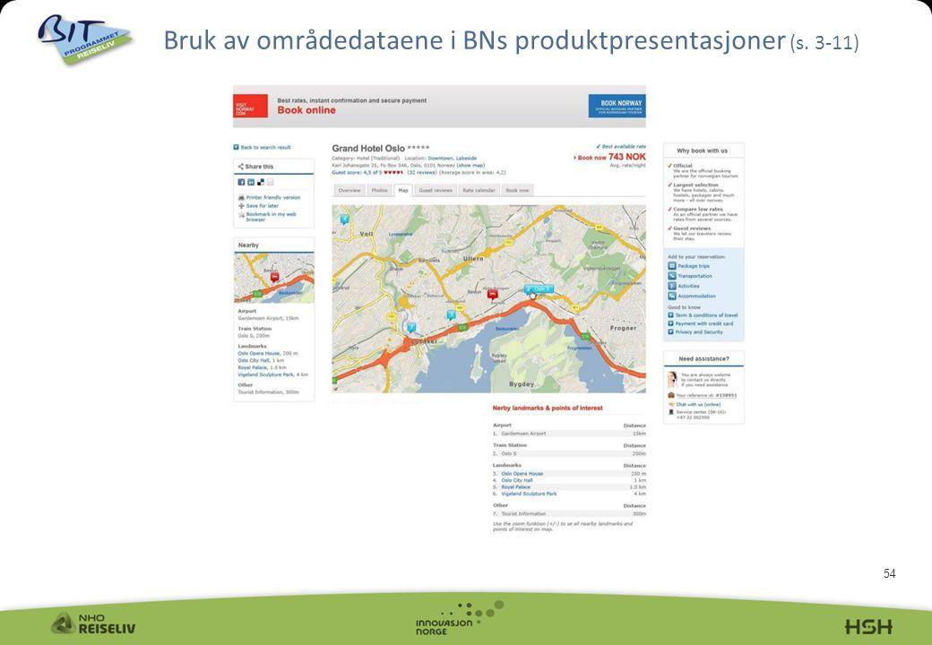54 Bruk av områdedataene i BNs produktpresentasjoner (s. 3-11)