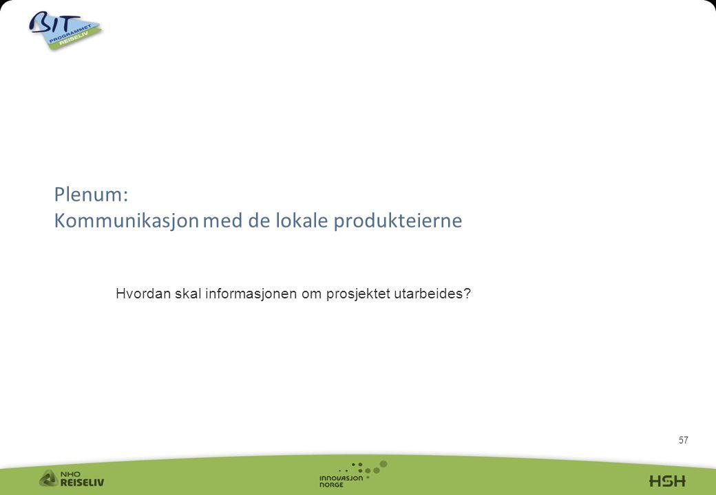 57 Plenum: Kommunikasjon med de lokale produkteierne Hvordan skal informasjonen om prosjektet utarbeides?