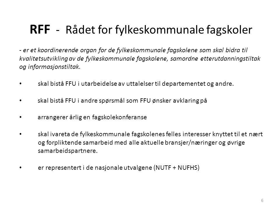 RFF - Rådet for fylkeskommunale fagskoler - er et koordinerende organ for de fylkeskommunale fagskolene som skal bidra til kvalitetsutvikling av de fylkeskommunale fagskolene, samordne etterutdanningstiltak og informasjonstiltak.