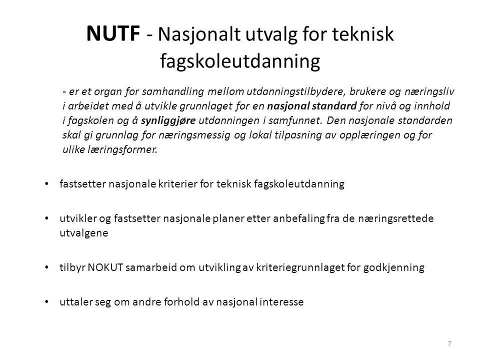 NUTF - Nasjonalt utvalg for teknisk fagskoleutdanning - er et organ for samhandling mellom utdanningstilbydere, brukere og næringsliv i arbeidet med å utvikle grunnlaget for en nasjonal standard for nivå og innhold i fagskolen og å synliggjøre utdanningen i samfunnet.