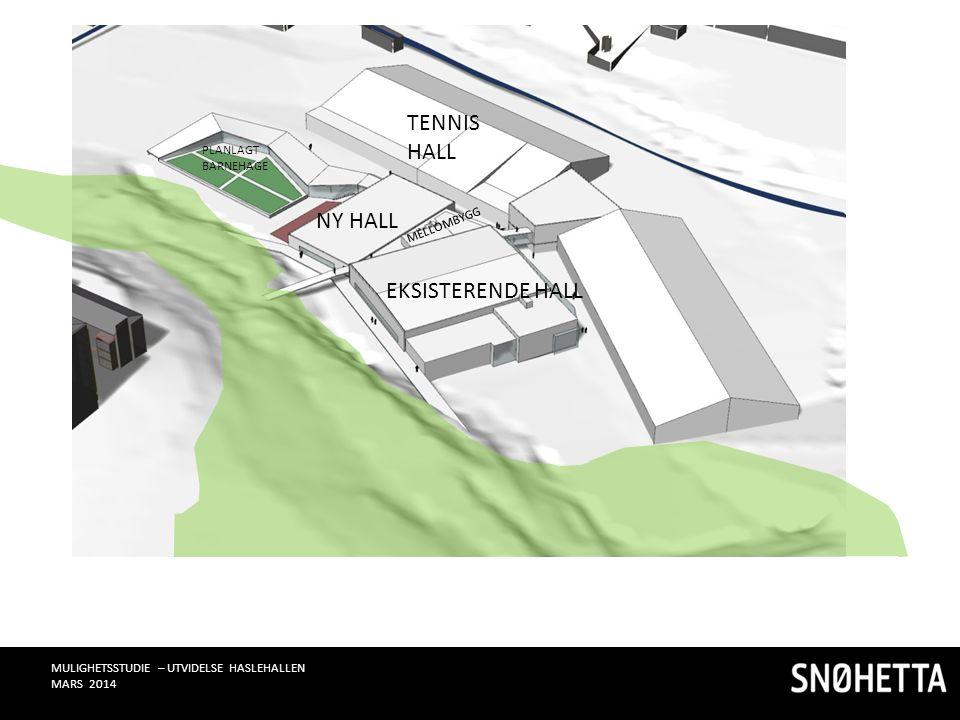 EKSISTERENDE HALL NY HALL MELLOMBYGG TENNIS HALL PLANLAGT BARNEHAGE MULIGHETSSTUDIE – UTVIDELSE HASLEHALLEN MARS 2014