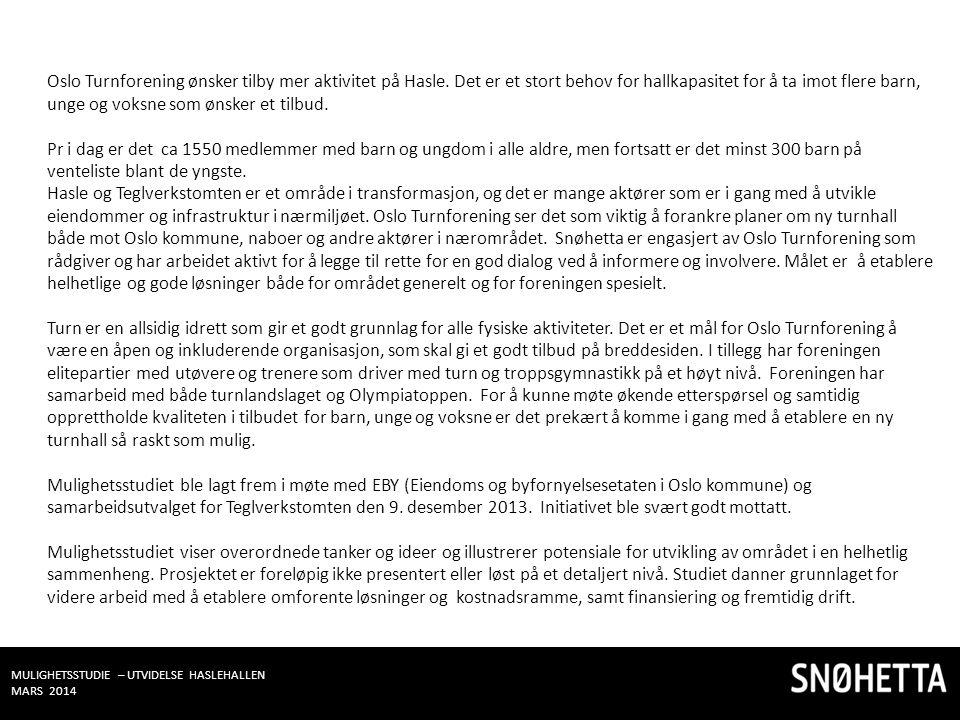 MULIGHETSSTUDIE – UTVIDELSE HASLEHALLEN MARS 2014 Oslo Turnforening ønsker tilby mer aktivitet på Hasle. Det er et stort behov for hallkapasitet for å