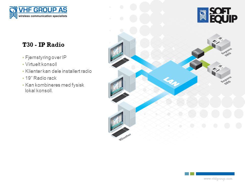 www.vhfgroup.com T30 - IP Radio • Fjernstyring over IP • Virtuelt konsoll • Klienter kan dele installert radio • 19 Radio rack • Kan kombineres med fysisk lokal konsoll.