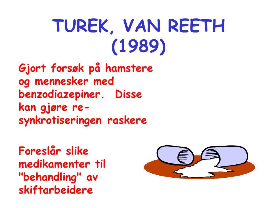 TUREK, VAN REETH (1989) Gjort forsøk på hamstere og mennesker med benzodiazepiner. Disse kan gjøre re- synkrotiseringen raskere Foreslår slike medikam