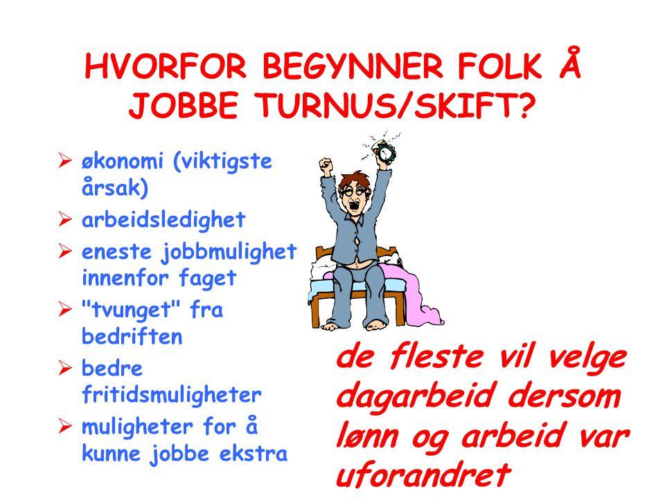 HVORFOR BEGYNNER FOLK Å JOBBE TURNUS/SKIFT?  økonomi (viktigste årsak)  arbeidsledighet  eneste jobbmulighet innenfor faget 