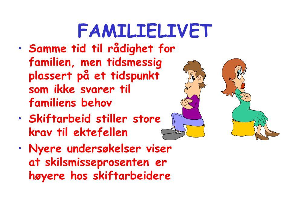 FAMILIELIVET •Samme tid til rådighet for familien, men tidsmessig plassert på et tidspunkt som ikke svarer til familiens behov •Skiftarbeid stiller st