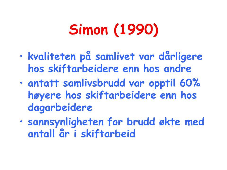 Simon (1990) •kvaliteten på samlivet var dårligere hos skiftarbeidere enn hos andre •antatt samlivsbrudd var opptil 60% høyere hos skiftarbeidere enn