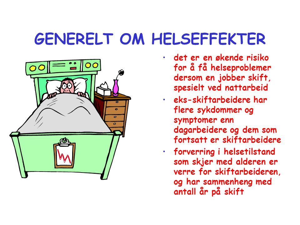 GENERELT OM HELSEFFEKTER •det er en økende risiko for å få helseproblemer dersom en jobber skift, spesielt ved nattarbeid •eks-skiftarbeidere har fler