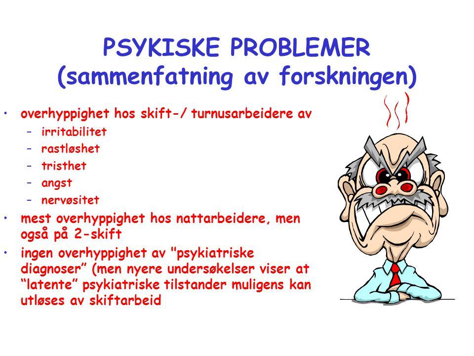PSYKISKE PROBLEMER (sammenfatning av forskningen) •overhyppighet hos skift-/ turnusarbeidere av –irritabilitet –rastløshet –tristhet –angst –nervøsite