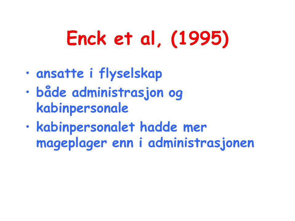 Enck et al, (1995) •ansatte i flyselskap •både administrasjon og kabinpersonale •kabinpersonalet hadde mer mageplager enn i administrasjonen