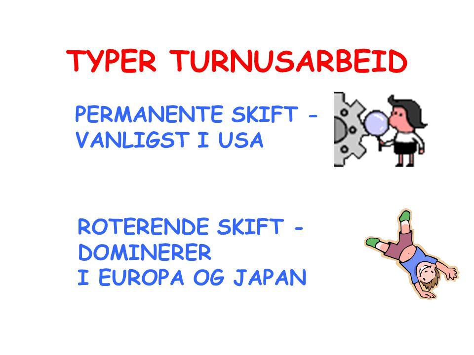 TYPER TURNUSARBEID PERMANENTE SKIFT - VANLIGST I USA ROTERENDE SKIFT - DOMINERER I EUROPA OG JAPAN
