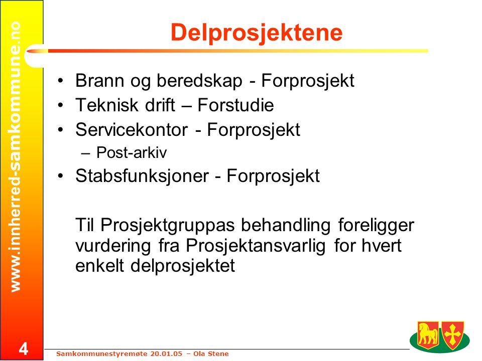 www.innherred- samkommune.no Samkommunestyremøte 20.01.05 – Ola Stene 4 Delprosjektene •Brann og beredskap - Forprosjekt •Teknisk drift – Forstudie •S
