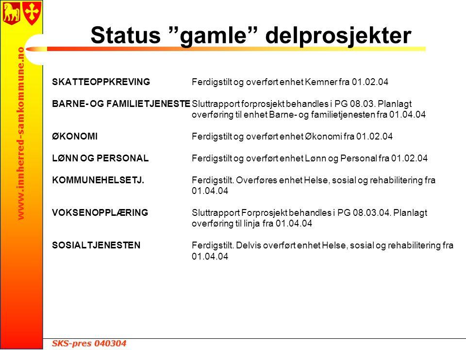 SKS-pres 040304 www.innherred-samkommune.no Status gamle delprosjekter SKATTEOPPKREVINGFerdigstilt og overført enhet Kemner fra 01.02.04 BARNE- OG FAMILIETJENESTESluttrapport forprosjekt behandles i PG 08.03.
