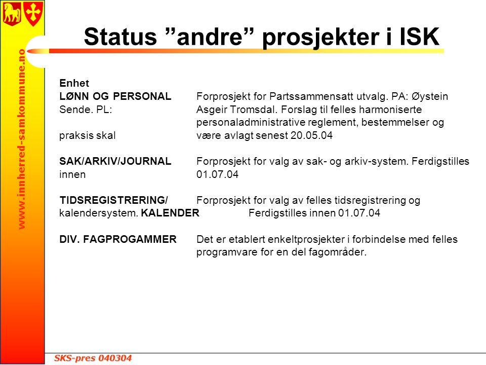 SKS-pres 040304 www.innherred-samkommune.no Enhet LØNN OG PERSONALForprosjekt for Partssammensatt utvalg.