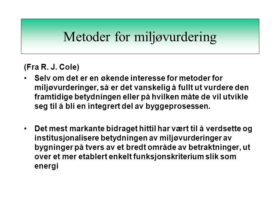 Metoder for miljøvurdering (Fra R.J.