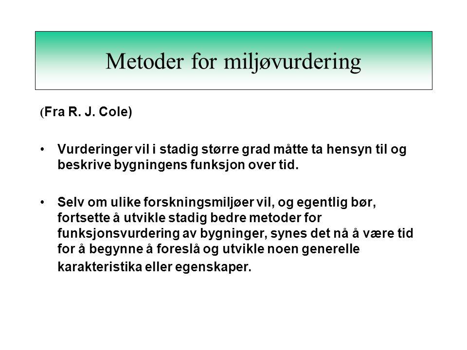 Metoder for miljøvurdering ( Fra R.J.