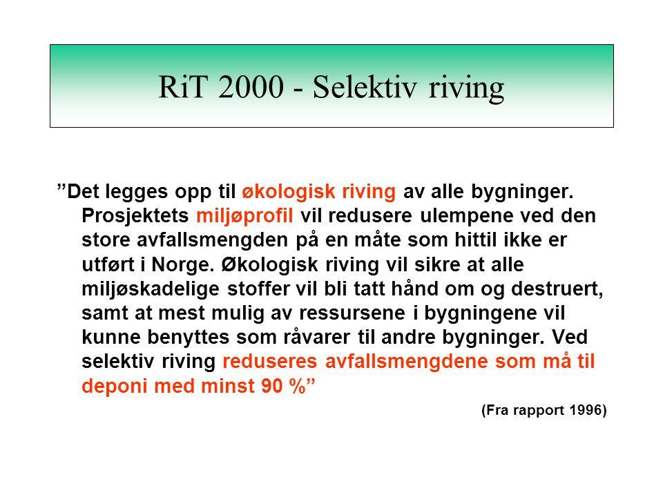 RiT 2000 - Selektiv riving Det legges opp til økologisk riving av alle bygninger.