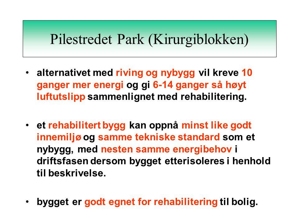 Pilestredet Park (Kirurgiblokken) •alternativet med riving og nybygg vil kreve 10 ganger mer energi og gi 6-14 ganger så høyt luftutslipp sammenlignet med rehabilitering.