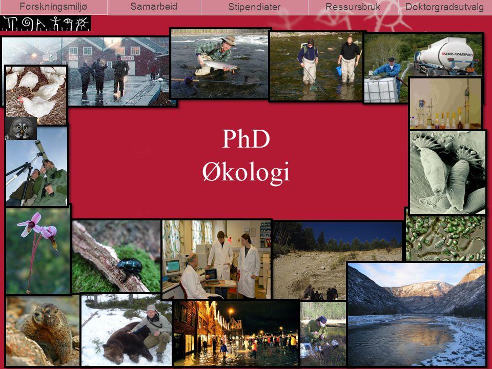PhD Økologi Samarbeid StipendiaterRessursbrukDoktorgradsutvalg Forskningsmiljø